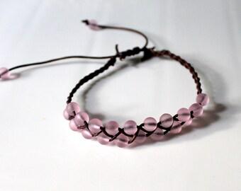 Pink Beachglass Braided Leather Bracelet, Friendship Bracelet, Boho, Stackable