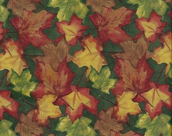 """ON SALE Fabric Remnant, Beauty of Autumn, South Sea Import, Leaves, 1 Yard and 12"""""""