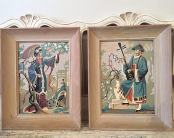 Vintage Set of Asian Paint by Number Pictures Framed