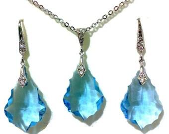 Something Blue Jewelry Set, Aqua Bridesmaid Earrings, Art Deco Bridal Earrings, Crystal Wedding Necklace, Swarovski Wedding Jewelry, DIVA