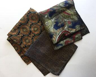 Vintage Silk Pocket Squares, Lot of Vintage Scarves