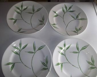 "4 Corningware Dinnerware Bamboo Salad Plates 8 1/2"""