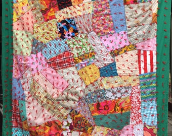 Vintage Quilt 1970s Strip Retro Bright & Colorful Fun Fabrics Excellent