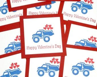 Kids Valentines- Truck Valentines- Classroom Valentines- 3x3 cards- Happy Valentines Day- Boys Valentines