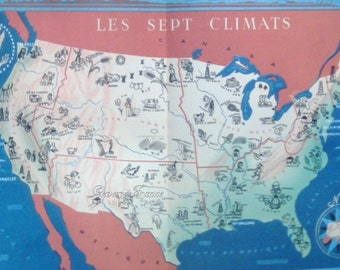 Antique Map of United States, the 7 climates and industry map 1949 18 by 14 inches