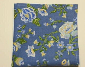 Blue Handkerchief Floral Hankie, Blue wedding Hankie, Something Blue Bride Bridal hankie,  Handmade in the USA