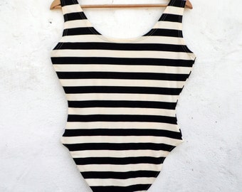 Black stripe leotard black stripe bodysuit black stripe onesie sailor romper sailor onesie retro bodysuit retro leotard