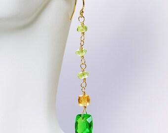 Peridot Dangle by Agusha. Peridot, Citrine, Peridot Quartz Dangle. Green and Gold Gemstone Earrings