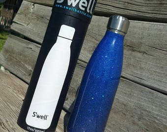 Glitter Water Bottle Stainless Steel 17 oz Swell Bottle Ombre Sapphire Blue to Tanzanite Blue