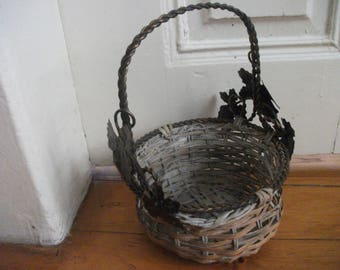 VINTAGE BASKET with metal handle VINE Leaves French Provincial Shabby Chic