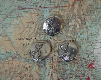 "Vintage Danforth Pewter Buttons, Hand Crafted in VT. 3 Buttons ""World"" 7/8"""