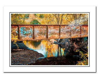 An Old Pennsylvania Train Trestle with Vibrant Autumn Colors and Led Zeppelin Graffiti Photo Note Card with Envelope, Blank inside