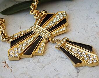 Bow necklace. Vintage bow tie necklace. Enamel jewelry. 1980's jewelry. Retro necklace. Black bow necklace. Formal necklace. Tie necklace