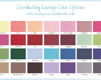 Premium Coordinating Envelopes - Size A2 for RSVP Cards and Thank You Cards - 28 Color Options