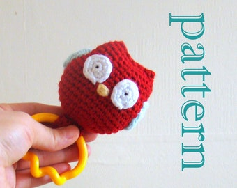 Owl Baby Teething Toy Rattle rattle toy baby rattle toy baby shower gift amigurumi crochet pattern amigurumi owl crochet pattern crochet owl
