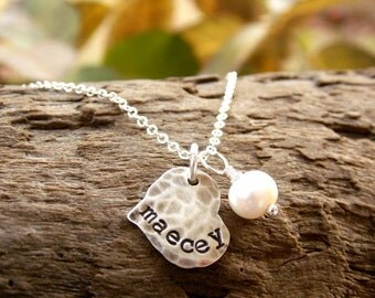 Heart Necklace with Kids Names Sterling Silver Stamped Distressed Tags