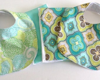 Baby Bibs and Burp Cloth Set of Four Pieces