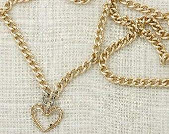 "Gold Heart Necklace 24"" Inch Long Chain Heart Pendant Lightweight Costume Jewelry 16D"