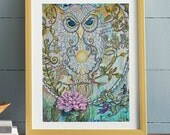 Visonary Owl on Paper, in Lotus Flower Canvas Professional cardstock Print