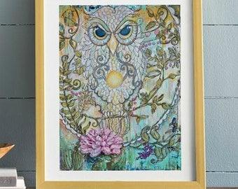 Visonary Owl on Paper, in Lotus Flower Canvas Professional cardstock Print