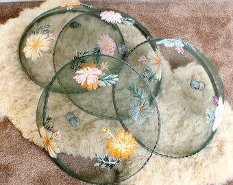 Vintage Mesh Food Covers/Plate Cover/ Wire Mesh Outdoor Food Covers/Embroidered flowers Set of 4