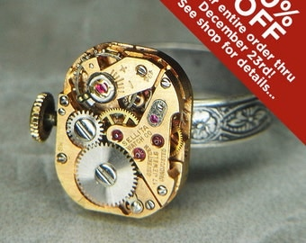 Women's STEAMPUNK Ring Jewelry - Torch SOLDERED - Petite Rose Gold SELITA Watch Movement & Floral Etched Band- Bright and Clean