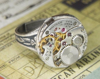 Women's STEAMPUNK Ring Jewelry - Torch SOLDERED - Silver Circular WALTHAM Watch Movement w Amazing Shine & Ruby Jewels - Bold and Bright