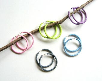 Endless Hoop Earrings - Pastel Colors - bohemian earrings, wrapped hoop earrings, cotton cord, bright colors, boho, Summer earrings, modern