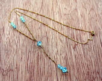 Blue Topaz Necklace - 10K Gold Necklace - Y Necklace In Solid Gold - Gemstone Necklace - December Birthstone Necklace - 4th Anniversary Gift
