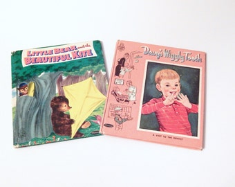 Vintage Childrens Books - Tell A Tale Books - Davy's Wiggly Tooth - Little Bear and the Beautiful Kite - Dentist Book - Bear Book