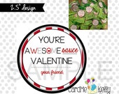 INSTANT DOWNLOAD Red Printable Awesome Awesomesauce Applesauce Labels Toppers Valentines Day Cards