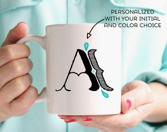 Monogram Gift Ideas | Personalized Initial Mug | 8 Colors to Choose From | Wedding Gift Initial Mugs | Gift for Friend | Birthday Gift Mug