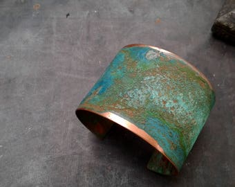 Artisan Aged Turquoise Copper Patina Cuff Bracelet- Turquoise and Copper Bracelet