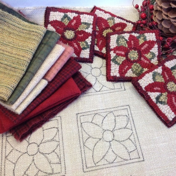 Rug Hooking KIT, Poinsettia Mug Rugs, K107, DIY Kit