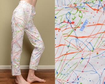 vintage 80s Esprit painter pants paint splatter hammer loop 1980 white rainbow pattern pants high waist baggy taper 26x30