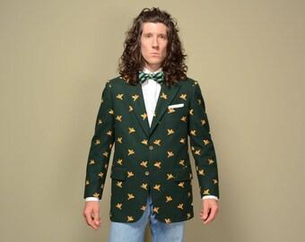 mens vintage sport coat 60s 70s Chipp pheasant pattern sport jacket forest green wool blazer 1960 1970 ivy league trad bird hunting 39-40