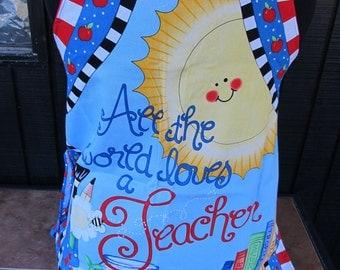 All the World Loves A Teacher Handmade Ladies Apron