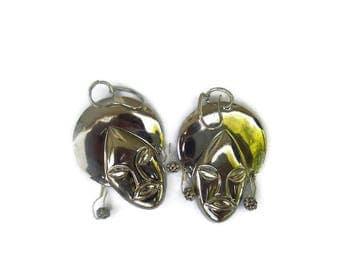 Billie Holiday Earrings silver earrings tribal face