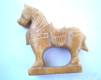 Vintage Horse Brown Stone Statue Figurine Saddle Carved Equine Pony Equestrian Collectible Animal Nursery Kid Children Boys Girl Tan Light