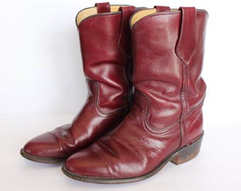 Vintage Mens Frye Boots / Size 9 1/2 EE Leather Cowboy Western Burgundy Made in USA Used Second Hand Old Boots 9 5 Used Cowboy Boots
