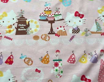 Hello Kitty fabric, sanrio, Hello Kitty fabric, cotton, Tea House Fabrics , craft cotton, 1 metre