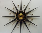 Starburst Clock - the Classic, by Welby. Mid Century Modern Atomic Era Sunburst Wall Clock, 1960s