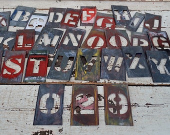 "Vintage Metal Stencils Letters Numbers 4"" Tin Alphabet Words Sign Making Craft Supply Industrial Assemblage Art Set of 30"