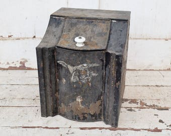 Vintage Black Tin Box Hinged Lid Metal Canister Coffee Storage Bin Chippy Paint Rusty Shabby Patina White Knob Farmhouse Primitive Kitchen