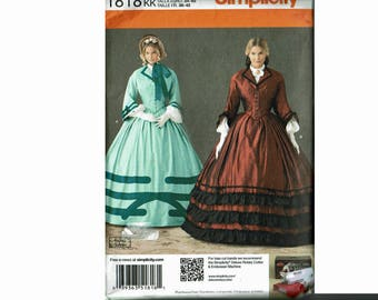 Civil War Skirt Ladies top costume separate sleeves collared shirtwaist Simplicity 1818 UNCUT sewing pattern Andrea Schewe Sizes 8-14