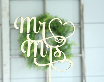 Mr and Mrs Fish Hook Cake Topper Fish Hook Heart Cake Topper