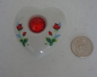 Vintage New Old Stock Procelain Heart Shaped Trinket Box w/ Red Jewelry and Painted Roses, Taiwan