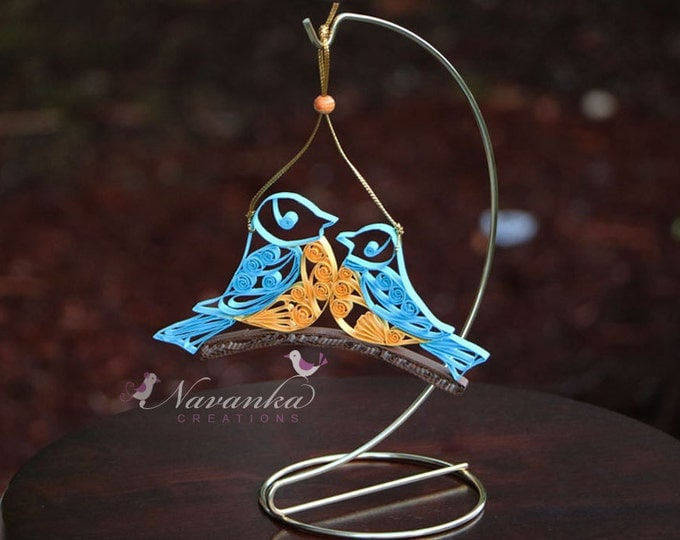 Paper Quilling Birds sitting on a branch, Two birds on a branch,Christmas, Wedding , Mother's Day, Quilled Bird, Baby Shower, made to order
