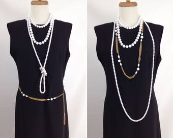 mothers day SALE WAS 28.88 4pc jewelry lot. 3 white glass & plastic bead necklaces and 1 gold chain belt. vintage layering chains necklaces