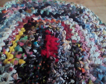 Multi colored Oval Crocheted Rag Rug
